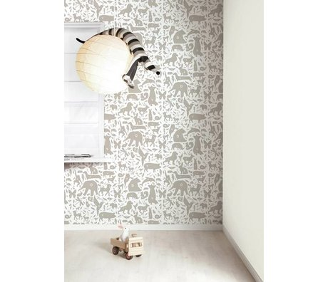 Kek Amsterdam Alphabet animals wallpaper, taupe / white, 8.3 MX47, 5cm, 4m ²