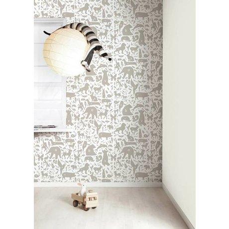 Kek Amsterdam animaux Alphabet papier peint, taupe / blanc, 8,3 MX47, 5cm, 4m ²