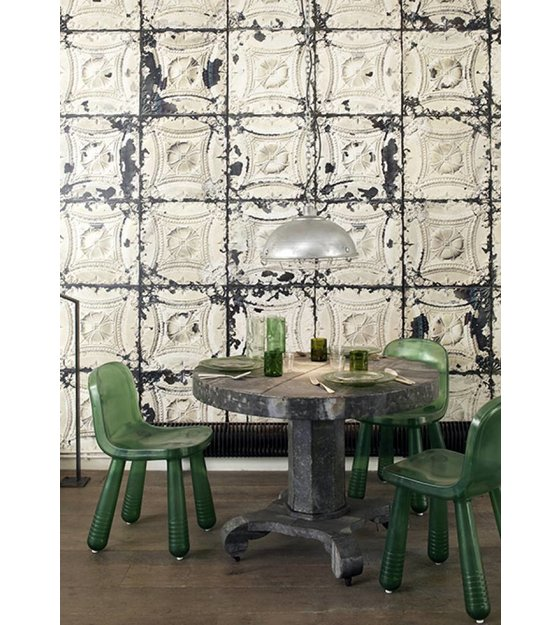 Merci Brooklyn Latas Wallpaper, Gris / Crema Tin-01
