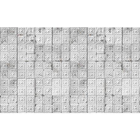 Merci Lattine Brooklyn carta da parati, grigio / bianco, stagno-04