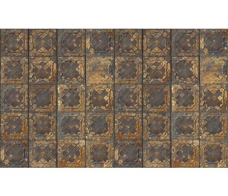 Merci Wallpaper Brooklyn Lattine, metallo oro, stagno-08
