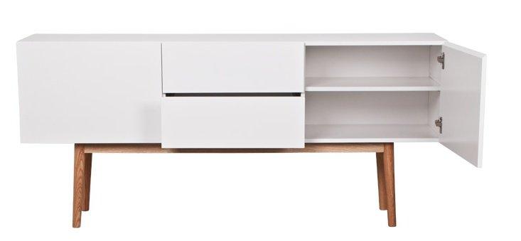 Zuiver meuble tv haut sur bois en bois blanc 160x40x71 for Meuble tv haut bois