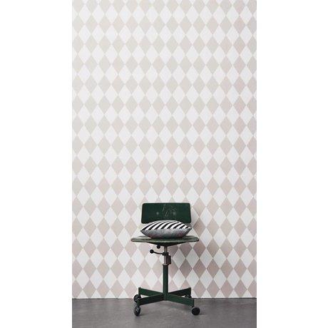 Ferm Living Papier peint Harlequin, rose / blanc, 10,05 x0, 53m