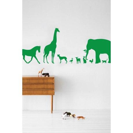 Ferm Living Vinyl Wall Decal Animals, green, 50x100cm