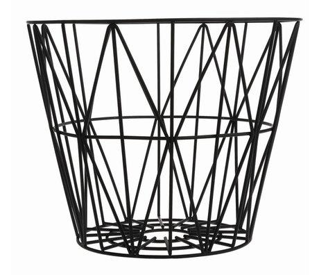 Ferm Living Basket lavet af jern, sort, 3 størrelser: 40x35cm, 50x40cm, 60x45cm