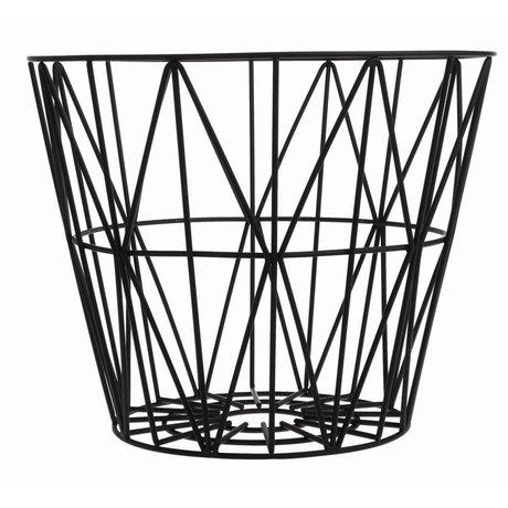 Ferm Living Demir, siyah, 3 boyut yapılmış Sepeti: 40x35cm, 50x40cm, 60x45cm