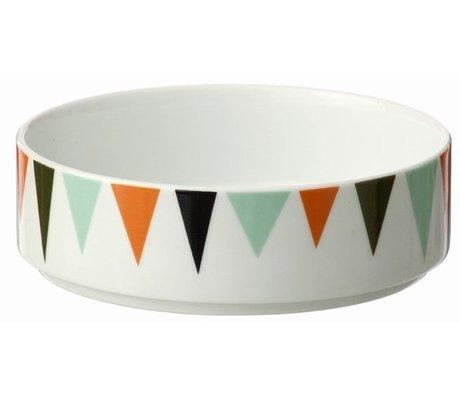Ferm Living Bol en porcelaine, blanc / coloré, Ø13cmx4cm