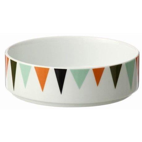Ferm Living Bol de porcelana, blanco / colorido, Ø13cmx4cm