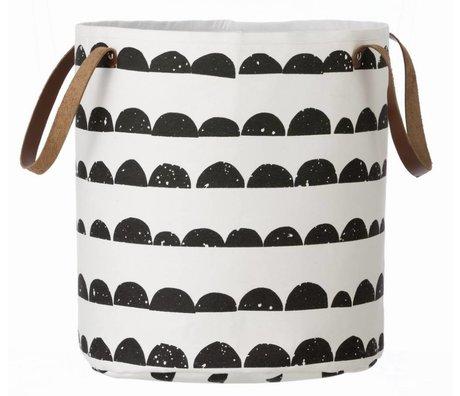 Ferm Living Cesto della biancheria mezza luna, nero / bianco, 35x40cm