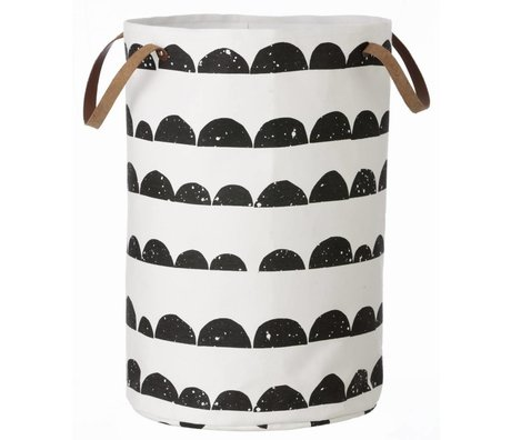 Ferm Living Laundry basket crescent of cotton, black / white, 40x60cm
