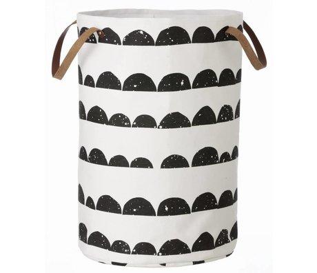 Ferm Living Vasketøjskurv halvmåne af bomuld, sort / hvid, 40x60cm