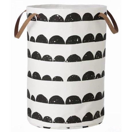 Ferm Living Cesto della mezzaluna di cotone, bianco / nero, 40x60cm