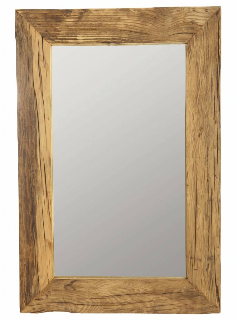 Housedoctor marco del espejo con madera reciclada marr n for Espejos de pared con marco de madera