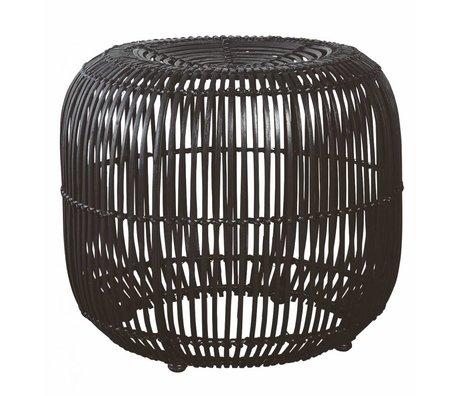 Housedoctor Tabouret en rotin / métal, noir, Ø52x46cm