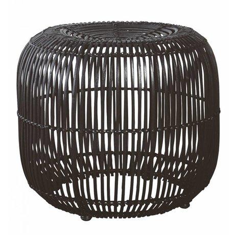 Housedoctor Sgabello realizzato in rattan / metallo, nero, Ø52x46cm