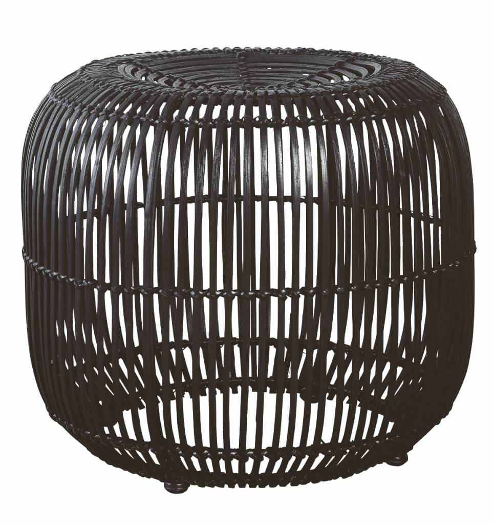 Housedoctor hocker aus rattan metall schwarz 52x46cm for Buromobel aus metall