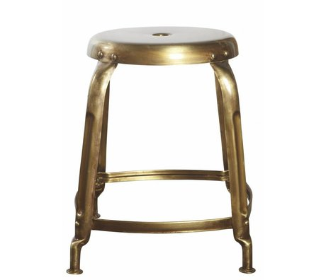 Housedoctor Skammel metal, guld, Ø36x45cm