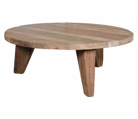 HK-living Table basse en teck, brun, Ø80x33cm