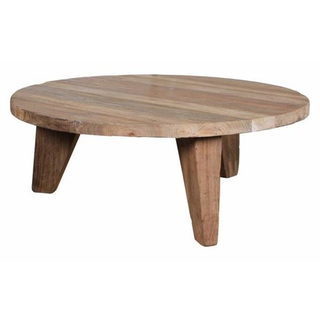 HK-living Tavolino in teak marrone, Ø80x30cm