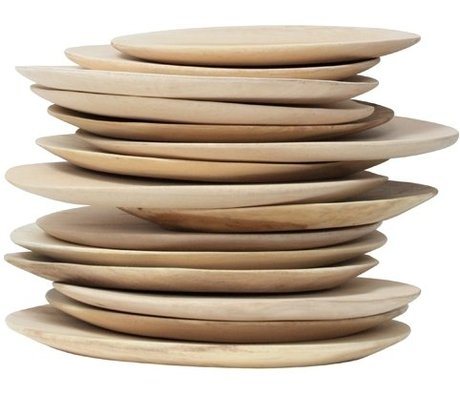 HK-living Wooden plate, brown, diameter 24-30cm