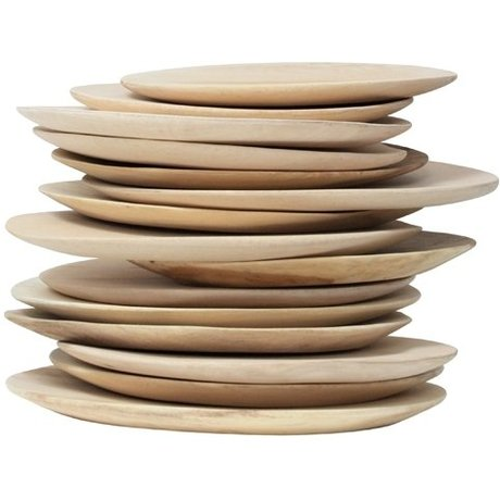 HK-living Wooden plate, brown, diameter 24-30cm