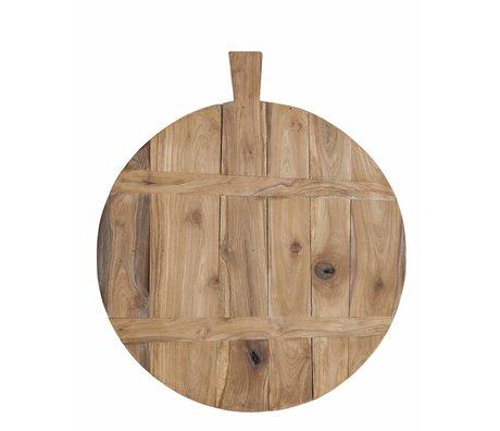 HK-living Planche à découper en teck, brun, Ø50cm