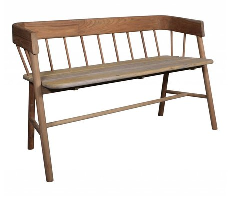 HK-living Bank of teak, brown, 45x123x72cm