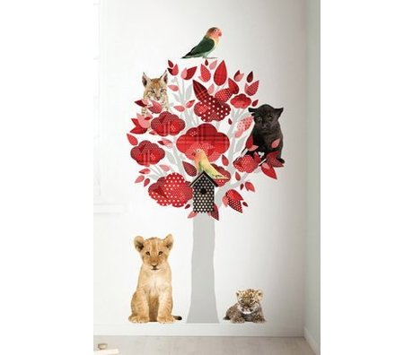 Kek Amsterdam Wall Decal Safari tree, red, 88x145cm