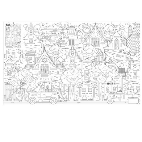 """Kek Amsterdam Coloriage """"Dans la ville"""", papier, 91x150cm"""