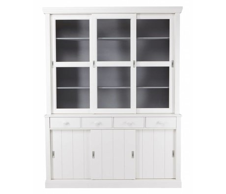 LEF collections LAGOS Buffet armoire en pin, blanc, 215x166x48 cm