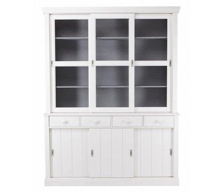 LEF collections LAGOS Buffet kabinet lavet af fyrretræ, hvid, 215x166x48 cm