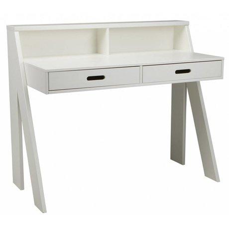 LEF collections MAX scrivania di pino, bianco, 112x55x93cm