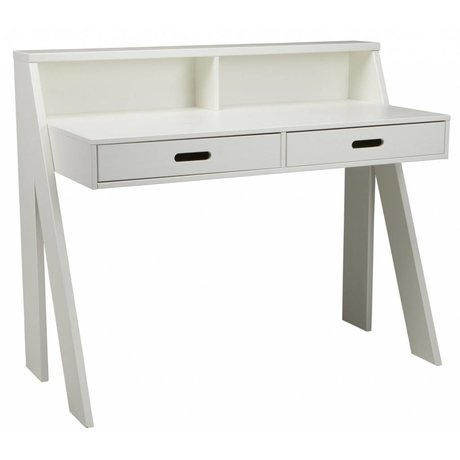 LEF collections MAX skrivebord lavet af fyrretræ, hvid 112x55x93cm