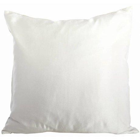 Housedoctor Funda de cojín de seda / lino / algodón, crema / gris, 50x50cm