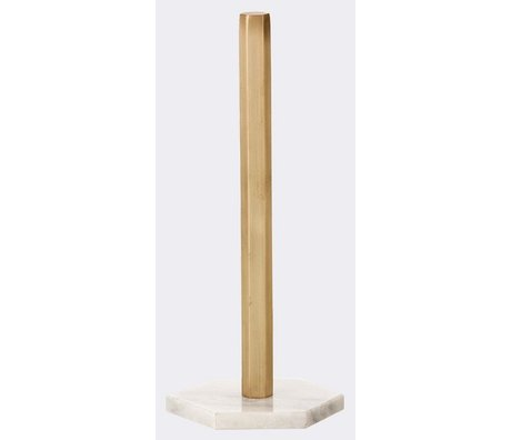 Ferm Living Kitchen roll holder in copper with foot marble 15x30cm