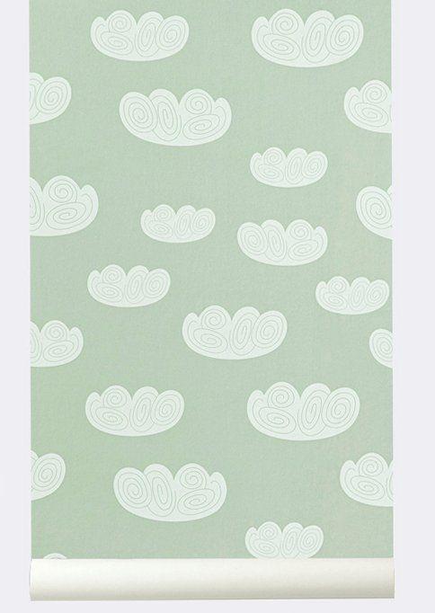 ferm living wallpaper 39 cloud 39 of paper mint green 10. Black Bedroom Furniture Sets. Home Design Ideas
