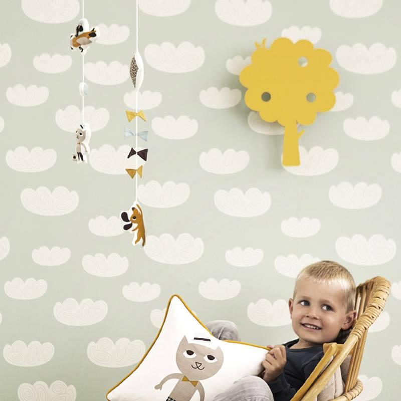 ferm living tapete 39 cloud 39 aus papier mintgr n. Black Bedroom Furniture Sets. Home Design Ideas