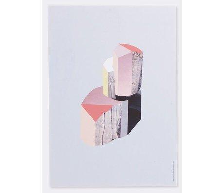 Ferm Living Duvar panelleri 'Kuvars -1' huş kontrplak, beyaz / çok renkli, 29,7 x42 cm