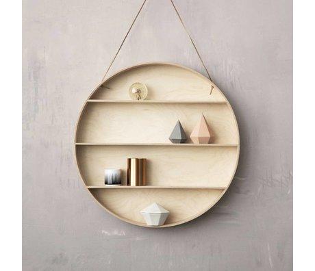 Ferm Living Mueble de pared hecha de madera con cuero lazo, naturaleza, Ø55cm