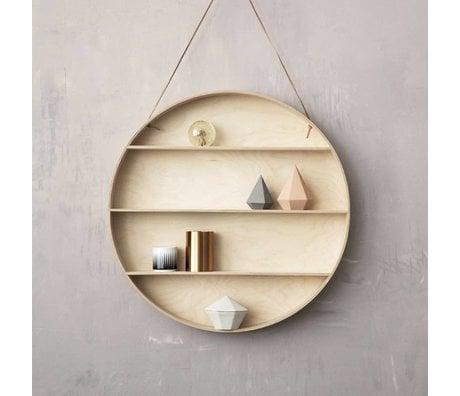 Ferm Living Wall kabinet lavet af krydsfiner med læder loop, natur, Ø55cm