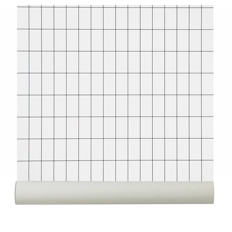 Ferm Living Duvar kağıdı `Grid`, siyah / beyaz, 10.05mx0.53m