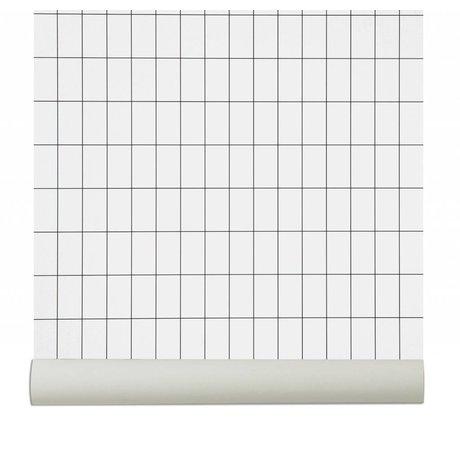 Ferm Living Wallpaper `Grid`, sort / hvid, 10.05mx0.53m