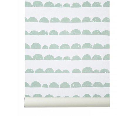 Ferm Living Duvar kağıdı `Yarım Moon`, nane, yeşil / beyaz, 10.05mtrx53cm