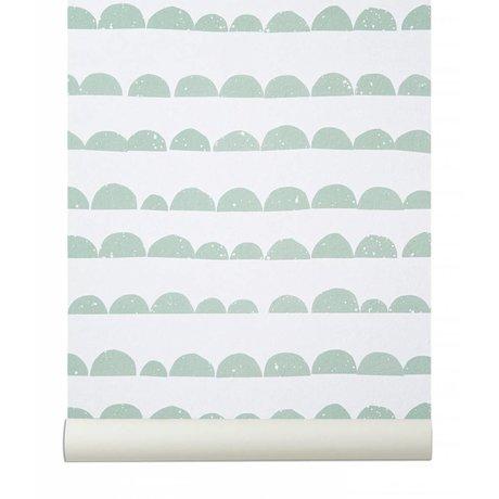 Ferm Living Wallpaper `La mitad Moon`, verde menta / blanco, 10.05mtrx53cm