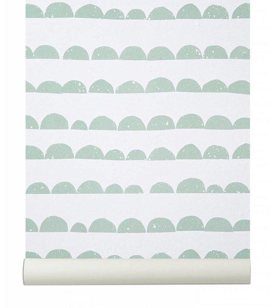 ferm living wallpaper half moon mint green white. Black Bedroom Furniture Sets. Home Design Ideas