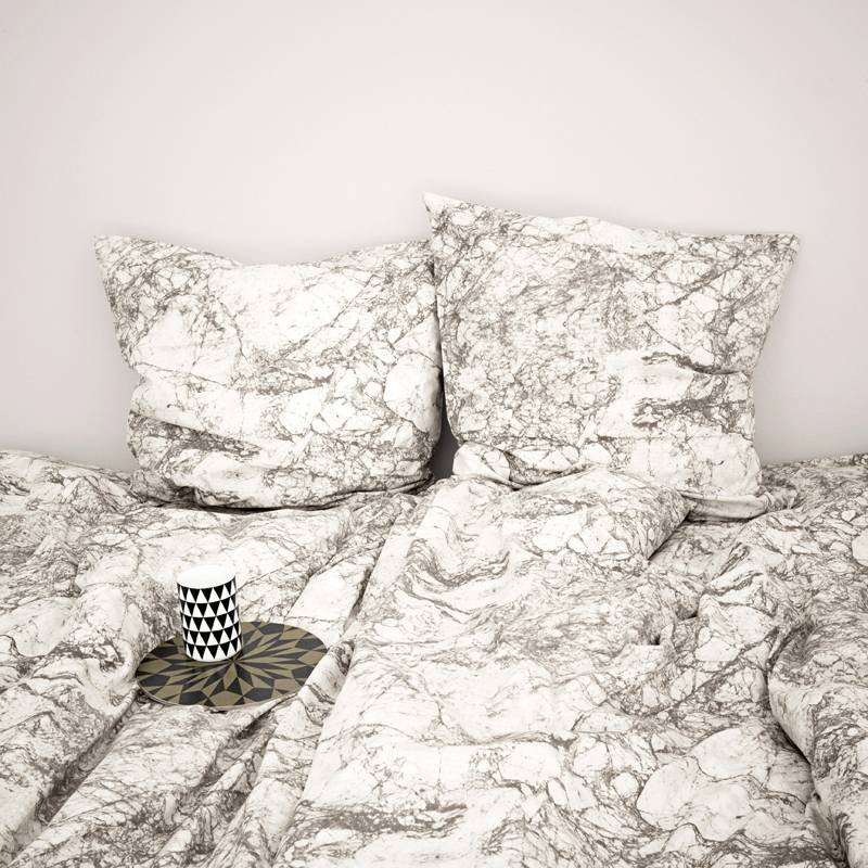 Ferm Living Sheets Marble Cotton Gray White 140x200