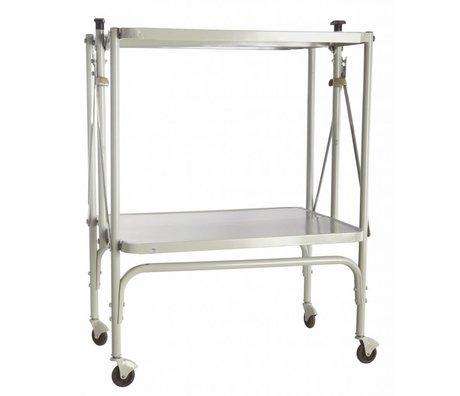 "Housedoctor Trolley ""fix"" af metal, sammenklappelig, lys grå, 40x53.5x75cm"