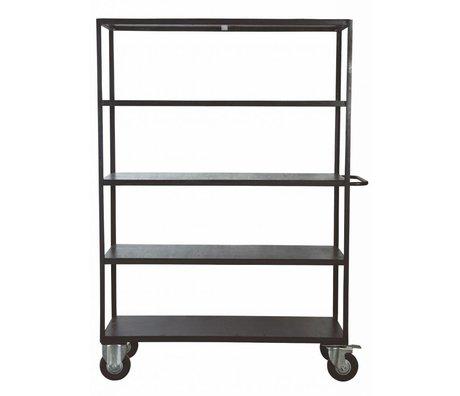 Housedoctor Aufbewahrungsmöbel auf Räder aus Metall/Holz, schwarz, 130x40x175 cm