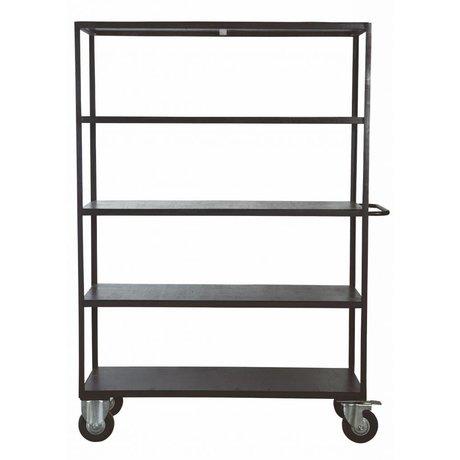 Housedoctor Black metal / ahşap, 130x40x175 cm yapılmış tekerlekler üzerinde depolama mobilyaları