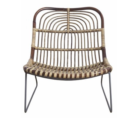 Housedoctor Lounge stolen 'Kawa' metal / rattan, sort / brun, 73x62x65 cm